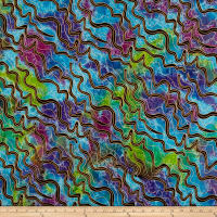 Indian Batik Metallic Zigzag Lime/Purple/Aqua