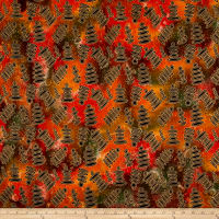 Indian Batik Metallic Ovals Orange/Yellow