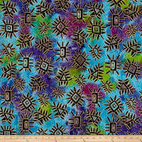Indian Batik Metallic Abstract Lime/Purple/Aqua