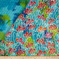 Double Face Quilted Indian Batik Floral Vine Blue/Green/Yellow