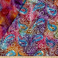 Double Face Quilted Indian Batik Paisley Purple/Blue/Orange