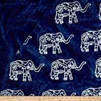 Double Face Quilted Indian Batik Elephants Indigo