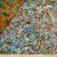 Double Face Quilted Indian Batik Butterflies Dusty Multi