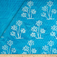Double Face Quilted Indian Batik Large Palm Tree Aqua/White