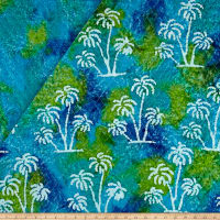 Double Face Quilted Indian Batik Large Palm Tree Aqua/Lime