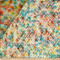 Double Face Quilted Indian Batik Large Ikat Coral/Teal
