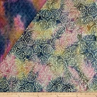 Double Face Quilted Indian Batik Abstract Floral Blue/Pink/Yellow