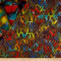 Double Face Quilted Indian Batik Ovals Metallic Multi