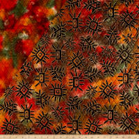 Double Face Quilted Indian Batik Abstract Metallic/Orange