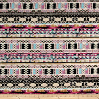 ITY Brushed Jersey Knit Tribal Pattern Pink/Light Brown/Pink/Black