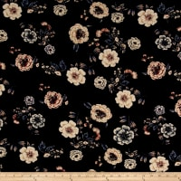 ITY Brushed Jersey Knit Flowers Black/Cream