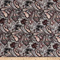 ITY Brushed Jersey Knit Paisley Black/Peach