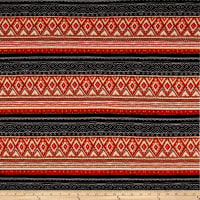 Hacci Sweater Knit Aztec Black/Maroon/Black