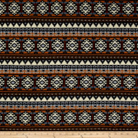 Hacci Sweater Knit Aztec Inspired Brown/Blue