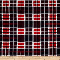 French Designer Jacquard Knit Plaid Navy/Red
