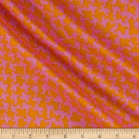 Italian Designer Cotton Voile Abstract Houndstooth Pink/Orange