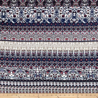French Designer Rayon Challis Reflected Stylized Floral Navy/Tan/Pink