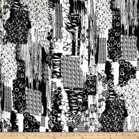 French Designer Rayon Challis Geo Collage Black/White
