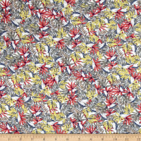 French Designer Rayon Challis Tropical Floral/ Leaves Pink/Yellow/Blue