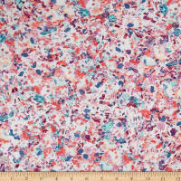 French Designer Rayon Challis Abstract Floral Purple/Blue/Pinik