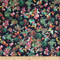 French Designer Rayon Challis Bright Tropical Black/Green/Pink