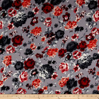 French Designer Rayon Challis Floral Grey/Red/White