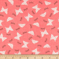 French Designer Cotton Voile Butterlies Dragonflies Coral/Ivory/Black