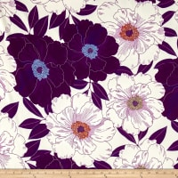 Bubble Crepe Large Floral Purple/White