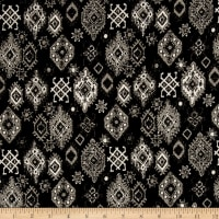 French Designer Medallion Jacquard Black/Taupe