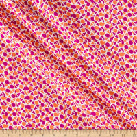 Italian Designer Silk Shirting Geo Orange/Pink