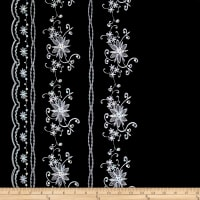 Embroidered Lawn Sequin Cotton Double Border Floral Black