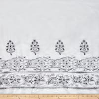 Embroidered Lawn Sequin Cotton Double Border Aztec White/Black