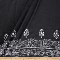 Embroidered Lawn Sequin Cotton Double Border Aztec Black/White