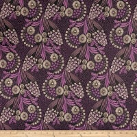 French Designer Jacquard Floral Purple/Bronze
