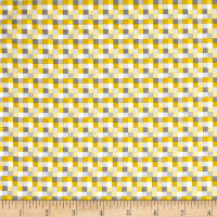 QT Fabrics Peanuts Good Friends Check Yellow