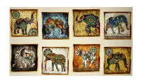 "Caravan Elephant Patches 24"" Panel Natural"