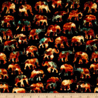 QT Fabrics Caravan Small Elephants Black