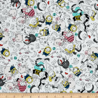 QT Fabrics Despicable Me 3 Best Family Ever Packed Graphic Characters White