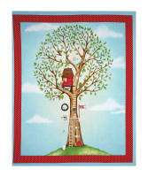 "QT Fabrics Hangin' Out One Animal Animal In Tree 35"" Panel Medium Turquoise"