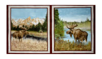 "By Water's Edge Moose Patches 24"" Panel Multi"