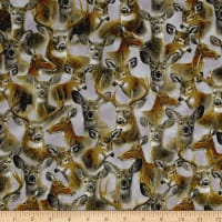 QT Fabrics In The Woods Packed Deer Gray