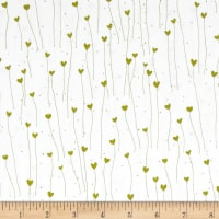 QT Fabrics Santoro Gift Of Friendship Hearts White/Avocado
