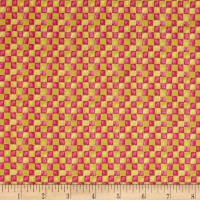 QT Fabrics Santoro Gift Of Friendship Check Pink