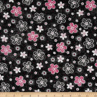 QT Fabrics En Vogue Tossed Flower Black
