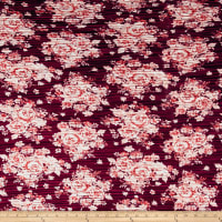 Pleated Bodre Knit Floral Oxblood Blush