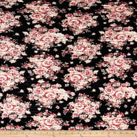 Pleated Bodre Knit Floral Black Rose Quartz