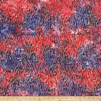 Primo Batiks Red Sky Squiggles Red