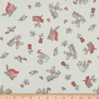 Timeless Treasures Flannel Doe, A Deer Tossed Woodland Animals Cream