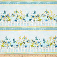 Timeless Treasures Fly Away Metallic Birds On Fence Stripe Mist