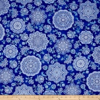 Timeless Treasures Dutchess Metallic Medallions Blue